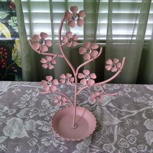 Pink Flowers with Crystals Jewelry Tree